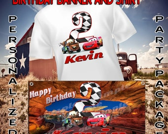 Personalized Cars Birthday T Shirt and Banner Combo - lightning mcqueen, tow mater, radiator springs, disney, race, sally
