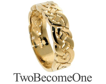 5mm Ladies 9k Yellow Gold Flat Shape Handmade Celtic Wedding Ring / Band / 4.5g