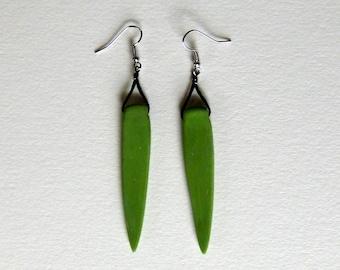 Grasshopper-Green and Black Spear Earrings