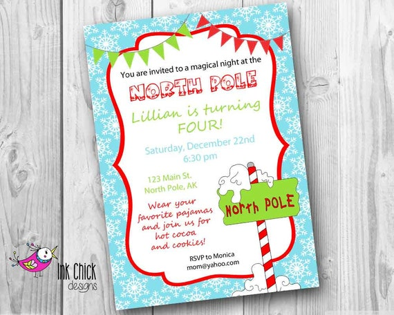 Items similar to North Pole Birthday Party Invitation North Pole – Pole Party Invitations