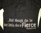 SMALL workout hoodie. Exercise hoodie. And Though She be but little she is FIERCE hoodie. Workout Clothing. Ladies size SMALL fitness shirt