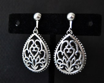 Clip Earrings, Filigree Earrings, Clip On Earrings, Silver Clip Style Earrings, Silver Drop Earrings