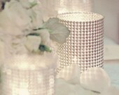 Set of (15) Centerpices Rhinestone Mesh Wrap Glass Cylinder Vases for Weddings or Special Event