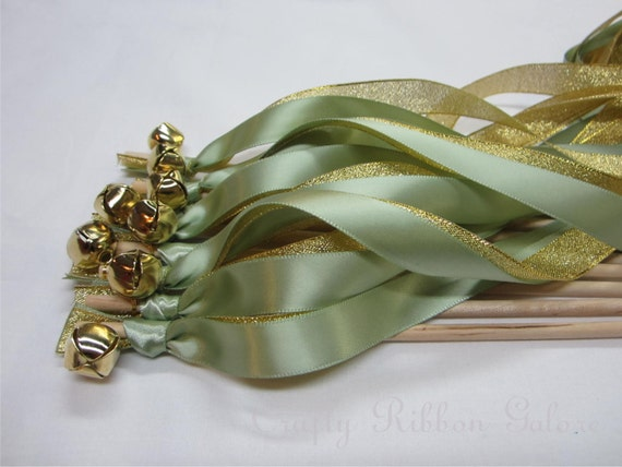 Metallic Foil Streamer Wands : 100 Wedding Wands Double Streamers with bells Metallic & Satin Ribbon