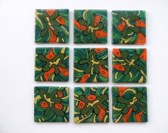 fused glass tiles,hand painted tiles,glass painted tiles,home decor tiles,kitchen tiles,wall decor,glass tiles