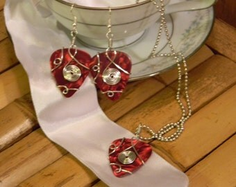 guitar pick earrings and necklace