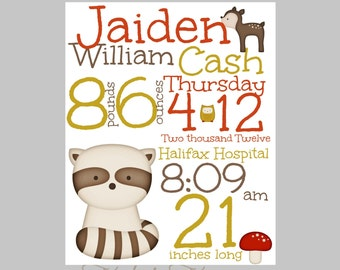 WOODLAND NURSERY ART - Forest Nursery art, Forest Animals nursery, Woodland Animals Nursery, Playroom wall art, Playroom art, birth stats