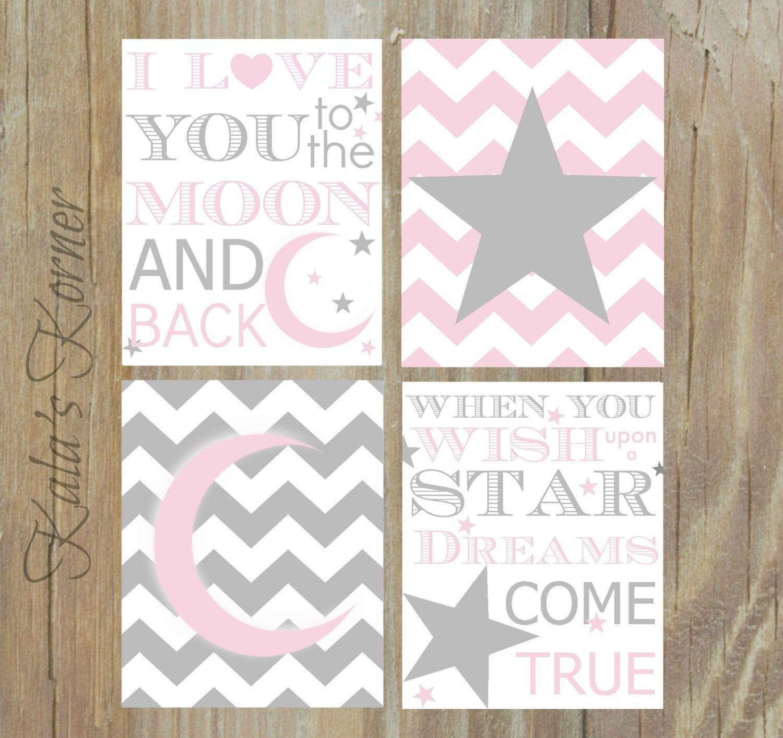 moon and stars nursery pink gray nursery pink gray chevron. Black Bedroom Furniture Sets. Home Design Ideas