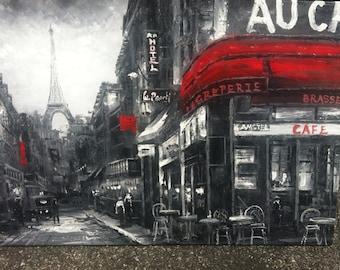 "PARIS BLACK & RED - Original Oil Painting - 24"" x 36"" Mounted"