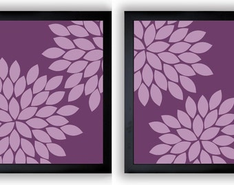 Flower Print Purple Plum Chrysanthemum Flowers Art Print Set of 2 Wall Decor Modern Minimalist Bathroom Bedroom