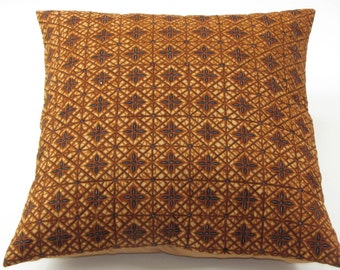 Brown and tan lightly quiltd batik print pillow cover