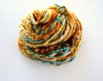Multicolor Wool, Handspun Yarn, Superwash BFL, Blue Faced Leicester, Homespun Art Yarn, Wool Handspun, Navajo Ply Yarn, Blue Orange Homespun