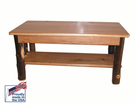 Rustic Solid Hickory Coffee Table With Shelf