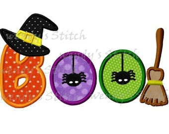 Halloween boo witch hat spider broom machine embroidery applique