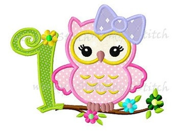 First owl birthday for girls machine embroidery digital applique design