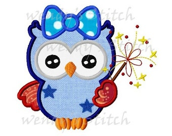 Patriotic owl with fireworks girly owl applique machine embroidery design