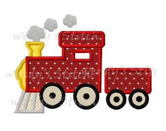 Train applique machine embroidery design digital pattern instant download