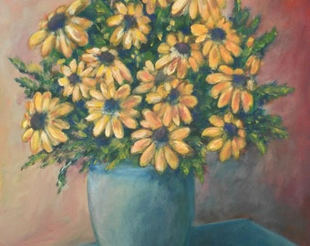 Yellow flowers - an original painting by Liena Ivanova