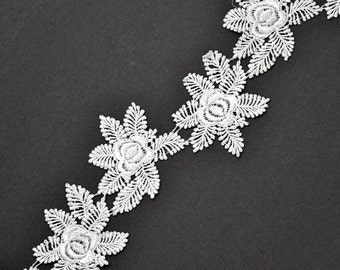 Venise Flower Lace Ribbon Trim, 2-1/2 Inch by 1 Yard, White, ROI-98057