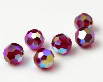 24+ pcs 6mm/8mm Swarovski Crystal Round Beads 5000, Siam AB 2X, SW-5000