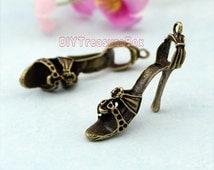 6pcs--Huge High Heel Shoe Charms,3D Antique bronze Tone Stilettos charm pendants,necklace charm 30x26mm