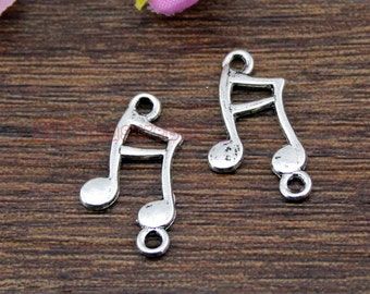 40pcs-- Music note Charms, Antique Tibetan Silver Tone Treble Clef charm pendants, musical charm  21x12mm