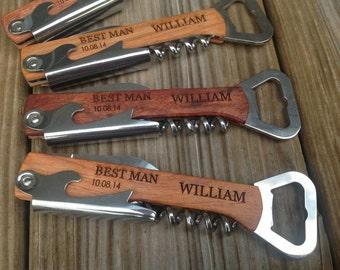 6 Groomsman, best man  Gift Set, 6 bottle beer opener real wood-groomsman best man personalized wedding gift