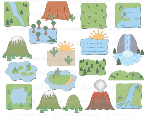 Landforms Geography ClipArt by ScribbleGarden on Etsy