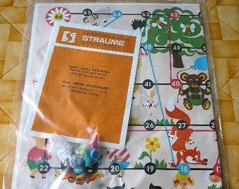 Vintage Board Game ,Soviet Era Kids Game USSR Old Game, similar to Snakes Ladders, Fairy Tale Character adventure game ( 2 available ) @78
