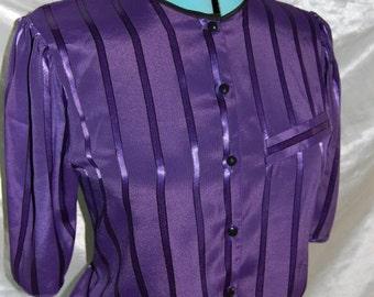 Vintage Purple Shimmer Stripe 'Sixth Sense' SECRETARY BLOUSE Top
