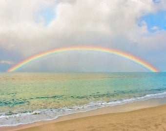 "Rainbow Ocean Photography - Travel, Dreamy, Wall Art - ""Just for Us"""