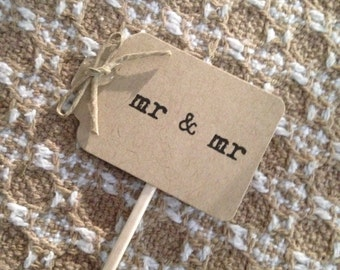 Mr & Mr Rustic Wedding Cupcake Topper - set of 12, engagement party, rustic wedding