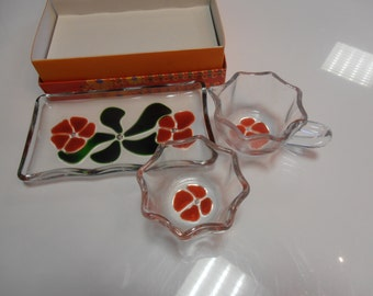 Vintage! Sugar and creamer set designed by Walther glass