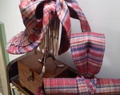 authentic 40s reproduction tartan wool tilt hat, large bow at back wired matching bags available