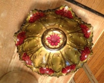 Vintage GOOFUS GLASS Bowl Gold, Red Reversed Painted ROSES Flared Ruffled Edge