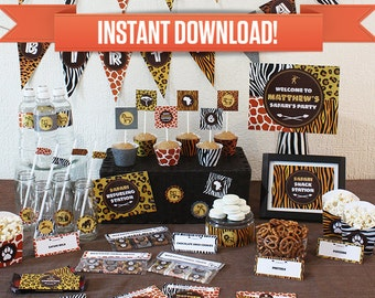 Safari Birthday Party Printable Collection & Invitation - Editable PDF file - Print at home