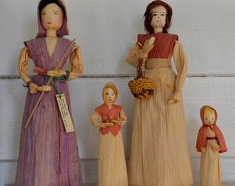 Vintage Handmade CORN HUSK Doll Set Of FOUR