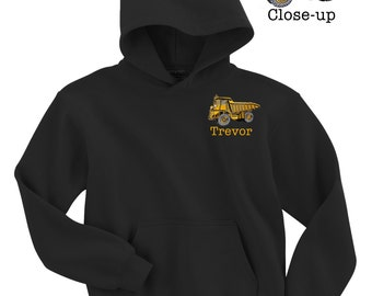 Custom Embroidered PERSONALIZED Boys DUMPTRUCK Construction Bulldozer Monogram Hooded Hoodie Sweatshirt - Name or Initials