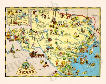 Pictorial Map of Texas - colorful fun illustration of vintage state map
