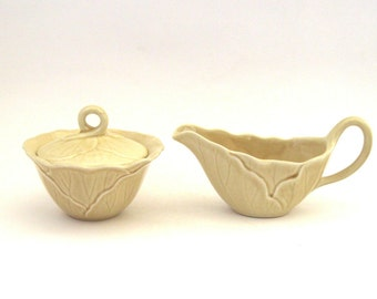 Metlox Lotus  Cream and Covered Sugar Set - Sand
