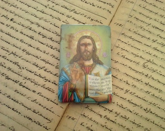 Jesus Christ lcon, Greek Religious Art, Christian Orthodox Antique, Baptismal Gift