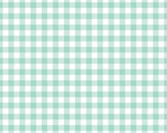 Mint Gingham  craft  vinyl sheet - HTV or Adhesive Vinyl -  mint and white pattern   HTV204
