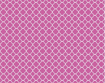 fuchsia quatrefoil craft  vinyl sheet - HTV or Adhesive Vinyl -  fuchsia and white pattern vinyl HTV556