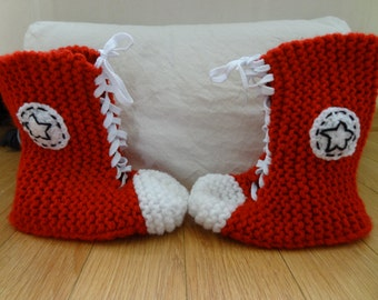 Handmade Knit Tall Converse Inspired Slippers - Made to Order
