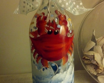Maryland Crab Lighted Wine Bottle