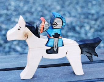 Horse and Knight Wooden Toy - Eco Friendly Natural Waldorf Wooden Play Set
