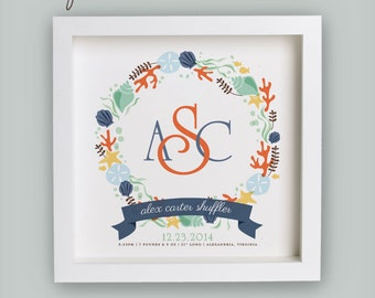 Nautical Monogram Birth Announcement – Navy & Coral – Personalized Baby Nursery Art