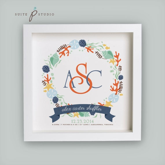 Nautical Monogram Birth Announcement