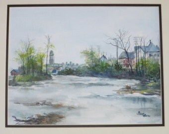 Original Watercolor,Landscape Muncie, IN,Old Courthouse,White River,Professional Artist, 300lb. Arches Paper 11x14, Matted to 16x20