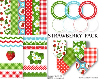 Strawberry Digital Paper and clipart pack, clip art, digital borders, digital frames, strawberries, instant download - BR 350